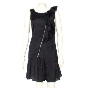 MARC JACOBS Black Asymmetrical Zip Ruffle Dress